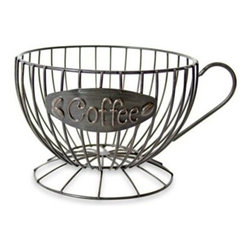 """Dennis East International Llc - Metal Coffee Cup Keeper - Designed to look like a coffee cup and featuring a metal plate with 'Coffee' inscription, this eye-catching metal wire receptacle would look great on a countertop and is perfect for storing all kinds of coffee accessories. Stands 5.5"""" tall."""