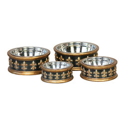 Unleashed Life - Chartres - Extra Small  Feeder - Bon Appetit! Inspired by the rich history of New Orleans, an embossed Fleur de Lis adorns the charcoal resin dog bowl with antique gold trim.