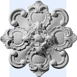 "Inviting Home - Saint Ives Ceiling Medallion - medallion dimensions: 18-1/8""OD x 1-1/4""D Saint Ives ceiling medallion molded with deep relief design to achieve the highest degree of quality and details. This decorative medallion is reproduction of classic historical design. Saint Ives decorative medallion for ceiling comes factory primed and is suitable for painting glazing or faux finish. This ceiling medallion giving you look and feel of plaster while it is much easier to install than plaster or gypsum due to the weight dimensional stability precise tolerances and flexibility."