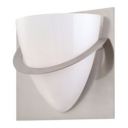 Eurofase Lighting - Eurofase Lighting 23045 Forma 1 Light Wall Sconce with Opal White Shade - Eurofase Lighting 23045 Forma 1 Light Wall SconceThis bold, geometric fixture offers uplifting illumination and contemporary style. The opal white glass shade lays against a reflective backplate and is accented by a sleek metal band.Eurofase Lighting 23045 Features: