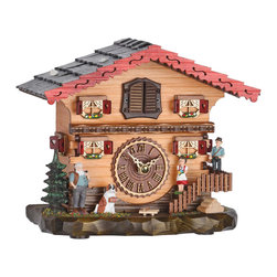 HOK Concepts - Heidi Farmhouse Quartz Cuckoo Clock with Music - Swiss House Tabletop Cuckoo Clock featuring Heidi and her Swiss friend Peter. This clock features a high quality german quartz movement and an easy-to-read wooden dial. On each hour the cuckoo emerges from a swinging door above the clock dial and sounds the appropriate number of times (Example: At one o'clock the bird will cuckoo once. At eight o'clock the bird will cuckoo eight times). After the Cuckoo is finished one of 12 different melodies is played: