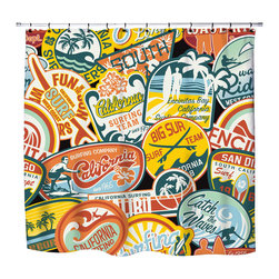 California Vintage Surf Stickers Shower Curtain - California Vintage Surf Stickers Shower Curtain from our Surfer Bedding Vintage Surf Bed and Bath Collection.