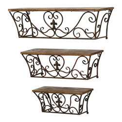 Benzara - Classic Metal Wall Shelf with Sublime Curves - Set of 3 - With a design that originates in China, this metal wall shelf set of 3 brings class and charm to your decor. The rustic styled metal wall shelf set of 3 will add an attractive appeal to the overall setting of your room and provides sufficient storage space. Finished in glossy brownish coat, this metal wall shelf set of 3 can be used for years without it losing any charm. The sturdy composition ensures durability and support to heavy items. These shelves are perfect for incorporating in living rooms, dining rooms and even bedrooms for that extra storage space you always wished for. It is available in 3 size variants - 6 in.  H x 15 in.  W x 6 in.  D, 7 in.  H x 20 in.  W x 7 in.  D, 8 in.  H x 25 in.  W x 8 in.  D.