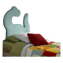 Powell - Powell Dinosaur Twin Size Headboard X-930-591 - Fun and funky, the Dinosaur Headboard is sure to be a hip addition to your childs bedroom. The unique shaped piece fits a twin size bed and packs a large punch to any room.  A cool accent that your child is sure to love. Fully upholstered and fully assembled.