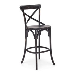 Zuo Modern - Union Square Bar Chair, Black - Modeled after a popular cafe chair in Europe, our versatile X-back bar chair comes in natural, antique black, and antique white. Frame is solid wood with antique metal accents.