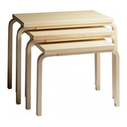 Artek - 3 Piece Nesting Tables - Features: -Material: Wood.-L-Legs design.-Table top 1.2'' thickness.-Tables collection.-Collection: Tables.-Distressed: No.-Country of Manufacture: Finland.Dimensions: -Overall Product Weight: 46.3 lbs.
