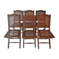 """Used Ballard Designs Louis Folding Chairs - Set of 6 - From Ballard Designs, these chairs have been hand carved from solid beechwood and are study and small enough to carry. Cane seat folds for easy storage.  Chairs are gently used with scratches consistent with use.  Seat height measures 18 1/4"""". The perfect set to stow away and bring into the garden for summer picnics!"""