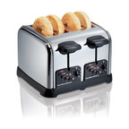Hamilton Beach - Chrome Toaster 4- Slice - This 4-slice chrome toaster features one-touch smart functions, auto shutoff, toast boost, extra-wide slots to accommodate thick bagels and hearty hand-sliced breads, cord wrap for easy storage and easy-clean crumb trays that slide out easily for quick cleanup. Bagel technology toasts the cut side and warms the round side.