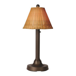 Patio Living Concepts - Patio Living Concepts Tahiti Ii 30 Inch Table Lamp w/ 2 Inch Bronze Tube Body & - 30 Inch Table Lamp w/ 2 Inch Bronze Tube Body & Tight Weave - Flat Wicker - Antique Honey Shade belongs to Tahiti II Collection by Patio Living Concepts All-weather full woven pattern, using flat PVC wicker highlights this shade, which completes the polycarbonate light globe in this elegant outdoor lamp. Features weatherproof all resin construction with heavy weighted base, two level dimming switch and 16 ft. weatherproof cord and plug. Waterproof light bulb enclosure allows the use of a standard 60 watt light bulb. Model # 18227 Lamp (1)
