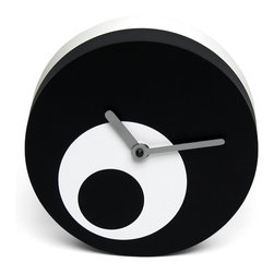Progetti - Tempoinstabile 1812 Dial Opti Black Table Clock - Two faces table clock made in painted wood. Battery quartz movement. Available in White or Black.
