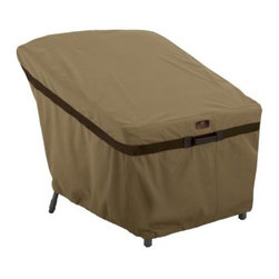 Classic Accessories Hickory Lounge Chair Cover - Tan - No need to find storage space for your lounger this winter, simple use the Classic Accessories Hickory Lounge Chair Cover - Tan. Handsome and durable, this cover is made of tan Weather10 material with Weather Leather trim that looks authentic yet won't rot. Padded handles ensure easy on and off and large air vents prevent mildew and wind lofting. For a customized fit, this cover uses a combination of click-close straps and an adjustable elastic hem cord at the bottom. It features a waterproof, laminated liner and is designed to fit most patio lounge chairs. Includes a manufacturer's limited lifetime warranty.About Classic AccessoriesFounded from small beginnings, Classic Accessories has grown in the past 30 years from a small basement operation in Seattle's Roosevelt neighborhood making seatbelt pads and steering wheel covers, to a successful and expanding company now making a wide variety of products from car to boat covers and much more. Innovative, stylish designs define products that are functional and made to last. From little details to the largest innovations, Classic Accessories is always moving forward and looking to provide cover and storage solutions to a clientele that has a passion for the outdoors, from backyard gatherings to exciting camping trips, Classic Accessories provides the products that keeps your equipment looking great all season long.
