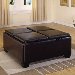 None - Oakford Dark Brown Faux Leather Cocktail Tray Top Storage Ottoman - Keep your house clutter free with this classy ottoman with storage. This espresso-finished ottoman, made of Asian wood, includes a storage cocktail table that has four removable trays, so you can enjoy a comfortable and organized home.
