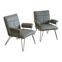 Great Deal Furniture - Bonsallo Modern Vinyl Arm Chair (Set of 2), Grey - Accentuate your living space with these modern arm chairs. The Bonsallo arm chair is a sleek addition to any interior space with its clean angles and lines.