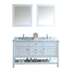 "Ariel - Mayfield 60"" Double-Sink Bathroom Vanity Set - Inspired by traditional Hampton-style beach cottages, this vanity from our Mayfield collection combines an all-white finish with carrera marble countertop and decorative crystal knob hardware for a crisp, clean feel that goes well with any bathroom design. Two doors with soft-closing hinges.  3 soft-sliding drawers.  White carrera marble countertop (1"" edge) w/matching backsplash design.  All marble tops are finished by hand, pre-drilled for all 8"" widespread faucets, and double-sealed for scratch-resistance and long-term durability. 2 cUPC-certified rectangular undermount sinks Color: Alpine White 2 Matching wood-framed 27.6""W x 32.3""H mirror included Vanity Dimensions: 60""L x 22""W x 34.6""H"