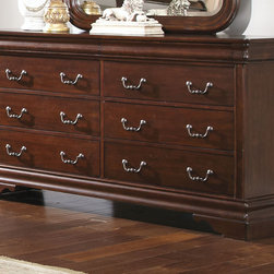 None - Liberty Cherry Louis Philippe 8-drawer Dresser - Enjoy the classic brass bail pull hardware and beautiful mahogany stained wood on this elegant Louis Philippe style dresser. Great to keep your bedroom organized,this lovely desk will add an old world refinement to your home.