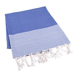 Handmade 100% Cotton Tunisian Fouta Hammam Towel, Blue - Bright and light, a fouta is a textile derivative of the traditional hammam towels of Turkey and North Africa. It is large enough for one person to use it as a beach towel. The foutas are made of lightweight cotton and roll up tightly, perfect for tucking in a bag and taking with you. Plus, they're as absorbent as traditional terry-cloth towels, and they dry quickly, too.