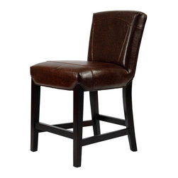 Safavieh - Safavieh Ken Counter Stool X-A2028DUH - Choose the Ken Counter Stool for luxurious comfort at counter or pub table. With a 24-inch seat height, Ken offers cushioned comfort seating and a sturdy, beech wood frame in dark brown finish. Upholstered in Brown bi-cast leather with a stitched detailing on its straight back, Ken will provide stylish seating for years in traditional or transitional interiors.