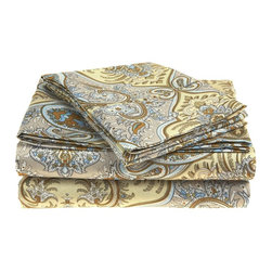 Microfiber 1800 Paisley Sheet Set - Queen - Ivory - These Microfiber Sheets offer an affordable alternative to high thread count cotton sheets. Microfibers are 100 times thinner than a strand of hair making the weave impenetrable to allergens and dust mites. This Sheet set features an amazing Paisley pattern. Each set comes with one fitted sheet, one flat sheet, and two pillowcases (one for Twin and Twin XL).
