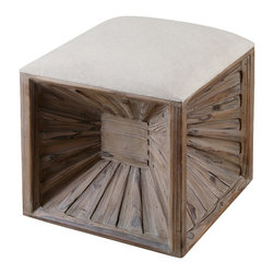 Uttermost - Uttermost Jia Wooden Ottoman - Jia Wooden Ottoman by Uttermost A Stylized Burst Of Natural, Weathered Fir Wood, This Versatile Cube Has A Cushioned, Neutral Linen Top Doubling Its Use As A Seat Or A Footrest.