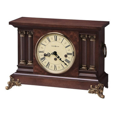 HOWARD MILLER - Howard Miller Circa Antique-Styled Mantel Clock - This antique-styled mantel clock features a lightly distressed finish and is rich in reproduction hardware, giving it a very authentic look.