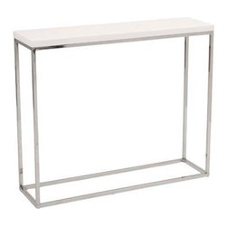 Eurostyle - Eurostyle Teresa Console Table in White Lacquer & Chrome - Console Table in White Lacquer & Chrome belongs to Teresa Collection by Eurostyle There's plain and there's perfect. This collection of 4 Teresa table designs are not only perfectly designed for strength and timeless style, they work beautifully together. Go for the group! Console Table (1)