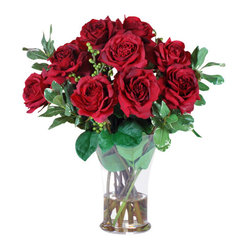 Jane Seymour Botanicals - Rose Glass Vase - Don't wait for Valentine's Day or some other special occasion to enjoy ravishing red roses. Treat yourself or someone you love to this exquisite permanent bouquet of 12 open red roses in a glass vase with water illusion, and make everyday feel a little more special.