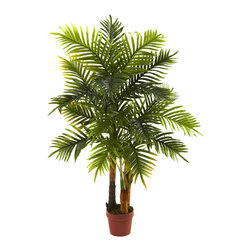 """Nearly Natural - Nearly Natural 4' Areca Palm Tree (Real Touch) - A beautiful palm tree can really enhance the look of your home or office, and this gorgeous Areca Palm tree will be a striking addition to either. Standing 4' in height, it sports a natural looking trunk and more than 130 leaves, ready to dance in the wind. Better still, this is a """"real touch"""" offering, meaning it feels every bit as real as it looks. Makes a superb gift as well."""