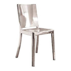 "Emeco - Hudson Chair | DWR - Originally designed for Ian Schrager's Hudson Hotel in New York City, the Hudson Collection (2000) combines the contemporary styling of Philippe Starck with Emeco's classic 1944 naval-ready form and 77-step construction. When asked about the collaboration, Starck replied, ""Working with Emeco has allowed me to use a recycled material and transform it into something that never needs to be discarded - a tireless and unbreakable chair to enjoy for a lifetime. It is a chair you never own, you just use it for a while until it is the next person's turn."" Hudson is made by hand, using 80% recycled aluminum and finished in either a highly polished or brushed surface. The Hudson Chair is included in the design collection at MoMA and received the 2000 Good Design Award from the Chicago Athenaeum. Hudson chairs and stools come with a lifetime guarantee, contribute to LEED™ credits and can be used indoors or out. Made in U.S.A."