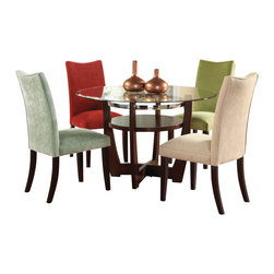 Standard Furniture - Standard Furniture La Jolla 4 Parson's Chairs (Set of 4) - Add a taste of contemporary sophistication to your dining area with a pair of elegant dining chairs. Cherry color legs. Semi PU chairs are available in black or brown and velvet chairs are available in taupe, red, spa, green, and yellow colors.