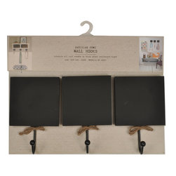 Enchante Accessories Inc - Sheffield Home Parisian Wall Hooks Set of 3 Chalkboard Wall Hooks (Black) - This pack of 3 mini chalkboards are great for restaurants & bars. Great way to label items for sale in a retail stores. Use these special mini chalkboards in your store to accent the handmade appeal of your products or services. Use in restaurants for Menu and specials sign. Signs have a nice French bistro feel.