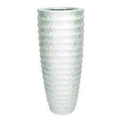Benzara - Tall Vase Rippled Silver Capiz Shell Home Patio Garden Accent Decor 50128 - Elegant tall polystone vase with rippled design in gleaming silver capiz shell finish home patio garden accent decor
