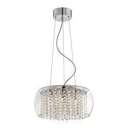 "Possini Euro Design - Crystal Rainfall Glass Drum 16"" Wide Chandelier - A clear glass drum casing makes cleaning this ceiling light easy while allowing a full view of its shimmering optical effect. Clear crystal is interspersed in strings with slender rings for a glittering rainfall effect as the light of seven halogen bulbs create sparkle. Chrome finish. Clear glass drum. Clear crystal. Includes seven 20 watt G4 halogen bulbs. 16"" wide. 10 1/2"" high. Comes with electronic transformer. Includes 10 feet adjustable cable and wire. Canopy is 5 1/2"" wide and 2 1/4"" high. Hang weight is 13 pounds.  Chrome finish.   Clear glass drum.   Clear crystal.   Includes seven 20 watt G4 halogen bulbs.   Comes with electronic transformer.   16"" wide.   10 1/2"" high.  Includes 10 feet adjustable cable and wire.  Canopy is 5 1/2"" wide and 2 1/4"" high."