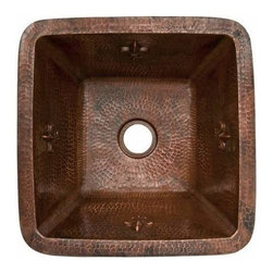 "Premier-Copper-Products - 15"" Fleur De Lis Copper Prep Sink W/ 2"" Drain - BS15FDB2 Premier Copper Products 15 Inch Square Fleur De Lis Copper Bar/Prep Sink W/ 2 Inch Drain Size"