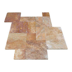 """French Pattern Autumn Blend Travertine Pavers - Tumbled - Our PREMIUM SELECT French Pattern Tumbled Autumn Blend Travertine Pavers contain a mixture of mostly red and gold, with some white, dark and light brown tones. There is significant movement throughout and a high variation is to be expected. French Pattern consists of 8x8, 8x16, 16x16, 16x24 sizes.  1.25"""" thick."""