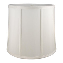 American Heritage Shades - Round Drum Lampshade in Cream (16 in. Diam x 10 in. H) - Choose Size: 16 in. Diam x 10 in. HLampshade Types. Shantung faux silk with off-white fabric liner. Hand made. Matching top, bottom and vertical trim. Enhances lamp and room decor. Made from polyester and fabric. Fitter in brass color. Made in USA. No assembly required