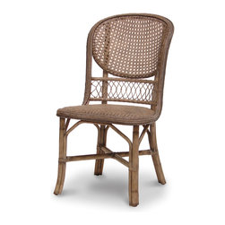Palecek - Antique Cane Side Chair, Grey - Pole rattan frame with open cane woven back. Coil weave on trim. Padded rattan mat seat.