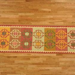 Kilim Qasqagi - Hand Woven 2'6''x9'8'' Vegetable Dye 100% Wool Kilim Oriental Area Rug, Runner.