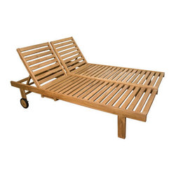 Balero Teak Double Chaise Lounge Chair - Lounge in style and comfort on the Balero Teak Double Chaise Lounge Chair. With room for two, this chair is the perfect place to spend the afternoon.