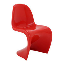 "LexMod - Slither Dining Side Chair in Red - Slither Dining Side Chair in Red - Sleek and sturdy, rock back and forth in comfort with this injection molded marvel. Constructed from a single piece of strong ABS plastic, the s shaped Slither chair can be found in many fashionable settings. Perfect for dining areas in need of a little zest, the design is versatile, fun and lively. Surprisingly cushy, choose from a selection of vibrant colors that wont fade over time. Slither is also perfect for spaces short on room. Set Includes: One - Slither Chair Tough ABS Construction, Stackable up to 4 High, Ergonomically Designed Overall Product Dimensions: 23""L x 19""W x 33""H Seat Height: 18""H - Mid Century Modern Furniture."