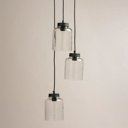 3-Jar Glass Hanging Pendant Lamp -