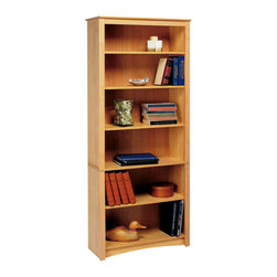 Prepac - Prepac Sonoma Maple 77 Inch 6-Shelf Bookcase - Upscale and versatile, the 6-shelf bookcase is a great addition to your study, office or living room. Six shelves serve to organize books, picture frames, decorative accents and more. Group it with others to create a library wall for even more storage. With its attractive and adaptable design, it's an invaluable piece in any home.