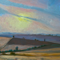"Rebecca N King Fine Art - ""Tuscan Sunset""  Oil on Panel artwork - Pienza, Italy is in the ""Valley of Gold"" is often called the Bread basket of Italy.  Freshly turned soil neutral soils turn shades of violet, soft yellow and gray as the sun sets over the valley.   This original oil painting was completed in 2011 by artist Rebecca N King as part of a series of Tuscan landscape paintings.  The perfect painting for any room.  Dynamic brush strokes laid in quick succession create the illusion of an endless sky.  Available unframed ."