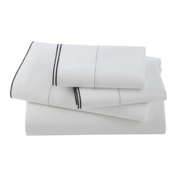 Kassatex - Kassatex Fiesole Pillowcase Set, Charcoal - It's easy to make a case for luxury even while you sleep. For example, if you spend almost a third of your life in bed, shouldn't your pillowcases be a pampering as possible? One touch will readily bear witness to the softness of this pair, woven of 210-thread count Egyptian cotton.