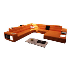 VIG Furniture - Polaris - Contemporary Orange Leather Sectional Sofa - Polaris sectional set with two decorative lights, side drawer and a shelf. It is usually available in stock in Orange, Black and Grey colors. Other variations can also be ordered upon special request. Bonded Leather