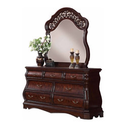Furnituremaxx - Tuscany Modern Wood Dresser & Mirror, Cherry Finish - The majestic Tuscany bedroom dresser and mirror set is packed full of design features that are sure to impress. The Dresser has a classic Monbay frame, shaped aprons, and intricate solid wood moldings and returns. The mirror are embellished with intricate decorative detail that ties nicely to the dark finished handles throughout the collection. The mirror also features an arched top as well as shaped sides that compliment the Bombay style case pieces.