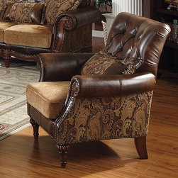 Dreena Traditional Bonded Leather and Chenille Chair - This traditional luxurious chair is stylishly upholstered in durable bonded leather and patterned chenille fabric. Removable seat cushions of the Chair offer comfortable seating and comfort.