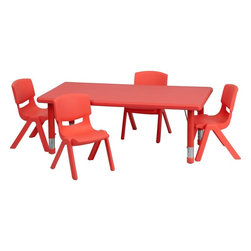 "Flash Furniture - Adjustable Red Plastic Activity Table Set with 4 School Stack Chairs - This table set is excellent for early childhood development. Primary colors make learning and play time exciting when several colors are arranged in the classroom. The durable table features a plastic top with steel welding underneath along with height adjustable legs. The chair has been properly designed to fit young children to develop proper sitting habits that will last a lifetime.; Children's Rectangular Table Set; Set Includes 4 Stackable School Chairs and Rectangle Table; Primary Red Color; 24""W x 48""L Rectangular Plastic Activity Table; 24""W x 48""L Rectangular Plastic Activity Table; 220 lb. Static Load Capacity; Safety Rounded Corners; Welded Steel Frame under top provides extra stability; Adjustable Height Steel Legs with Floor Glides Extend Out 9""; Height Adjustable Feature Accommodates Children up to Age 7; Table Size: 24""W x 48""L x 14.5"" - 23.75""H; School Chair with 10.5"" Seat Height; 154 lb. Static Load Capacity; Stacks up to 10 Chairs High; Designed to encourage proper sitting habits; Polypropylene Plastic Shell; Contoured One-Piece Shell; Lightweight Design; Easy To Clean; No Metal Parts prevent injuries to small children; Recommended for Preschool - Kindergarten Ages; Weight: 44 lbs; Overall Dimensions: 24""W x 48""D x 14.5"" - 23.75""H"