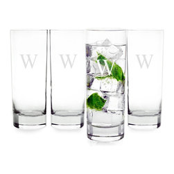 None - Personalized Tall Mojito Cocktail Glasses (Set of 4) - Personalize your bar with this set of four engraved mojito glasses. Each clear 12-ounce glass holds a generous amount of your favorite beverage while it proudly displays your choice of letter,ensuring your guests are impressed and hydrated.