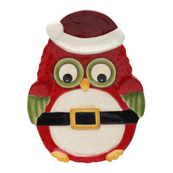 Cosmos - Red Christmas Owl with Hat and Santa Claus Belt Chip and Dip Plate - This gorgeous Red Christmas Owl with Hat and Santa Claus Belt Chip and Dip Plate has the finest details and highest quality you will find anywhere! Red Christmas Owl with Hat and Santa Claus Belt Chip and Dip Plate is truly remarkable.