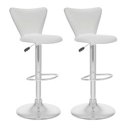 Sonax - Sonax CorLiving Curved Back Bar Stool in White Leatherette (Set of 2) - Sonax - Bar Stools - B217UPD - Add spice to any bar or kitchen island with the Bar Stool. Featuring Black soft leatherette upholstery and a full curved back this chair is the ultimate choice in both style and comfort. Accented with a chrome foot rest, gas lift and base, this bar stool easily adjusts to variable bar heights to suit your dining needs. A great addition to any home!